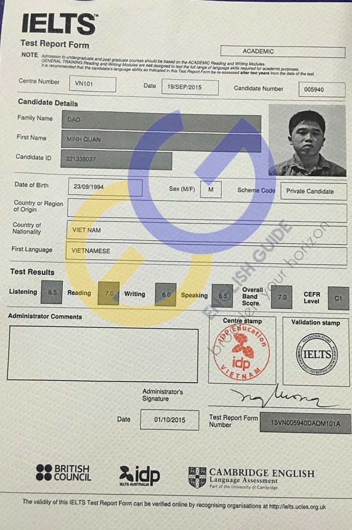 Học viên Đào Minh Quân – 7.0 Ielts