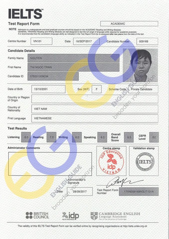 Học viên Nguyễn Thị Ngọc Trân – 6.5 IELTS